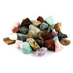 "Crystal Allies Materials: 3 Pounds Bulk Rough Madagascar 12-Stone Mix: Amethyst, Labradorite, Septarian, Rose Quartz, Green Opal, Girasol Opal, Desert Jasper, Blue Apatite, Red Jasper, Petrified Wood, Yellow Jasper & Chrysocolla - Large 1"" Natural Raw Stones & Fountain Rocks for Cabbing, Cutting, La"