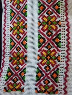 Embroidery Neck Designs, Folk Embroidery, Beaded Embroidery, Palestinian Embroidery, Stitch Patterns, Cross Stitch, Blanket, Beads, Crochet