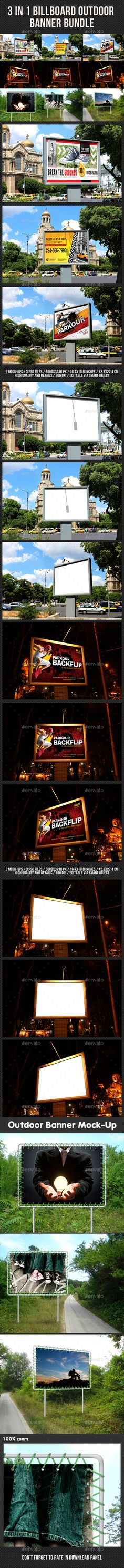 3 in 1 Billboard Banner Mock-Up Bundle - Signage Print