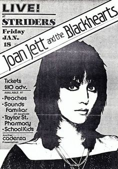 Joan Jett And The Blackhearts Concert Poster https://www.facebook.com/FromTheWaybackMachine/