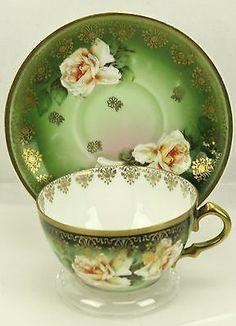 Vintage Mignon ZS & C Green Gold Stamp White Roses Teacup & Saucer Bavaria