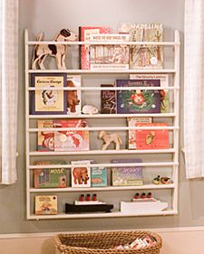 kids bookshelf from plate rack