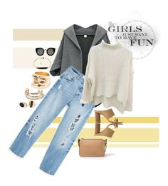 """""""Untitled #60"""" by aurora8918 ❤ liked on Polyvore featuring MANGO, Quay, StreetStyle, mango, grey and jeansandheels"""