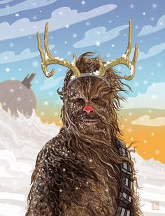 star wars christmas card chewbacca the red nosed reindeer - Starwars Christmas