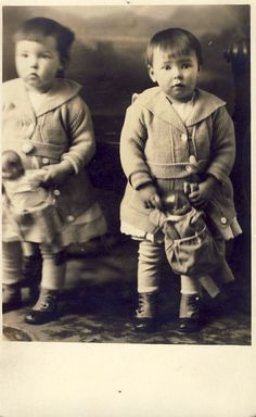 TWIN GIRLS with Dolls Looks Like Reflection in Mirror Photo Postcard Circa 1910s