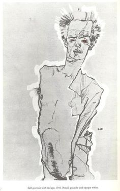 Egon Schiele, Self Portrait With Red Eyes 1910