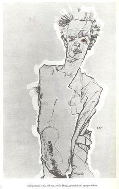 Egon Schiele, Self Portrait With Red Eyes 1910