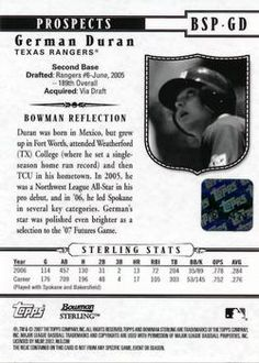 2007 Bowman Sterling - Prospects #BSP-GD German Duran Back