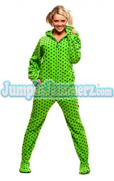 Green Diva Dots Adult Hooded Pajamas (clearance) ~  29.95 at  jumpinjammerz.com Adult 55324c280