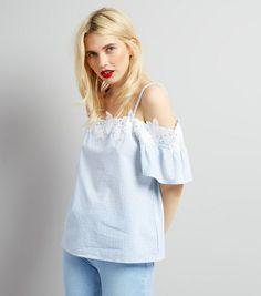 Blue Crochet Lace Trim Cold Shoulder Top  | New Look 20