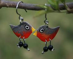 Handpainted robin earrings robin jewelry by HorakovaDesigns