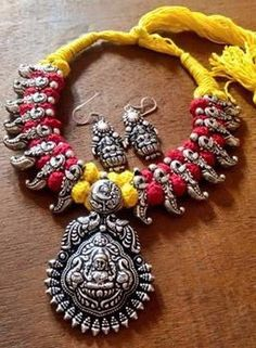 Lakshmi Thread Necklace Set With Oxidised German Silver Temple Pendant With Earring