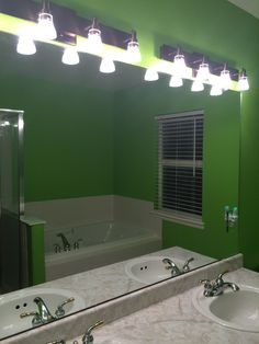 Lime green bathroom - modern lights.