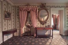 interior finish from the Oak Hill Parlor, American, 1801 Oak Hill, Hill Interiors, Architectural Elements, Painting On Wood, Curtains, Architecture, Dollhouse Interiors, Dollhouses, Rooms