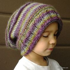 Free-Knit-Pattern-Emily's-Super-Slouchy-Hat.. in child and adult sizes
