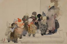 Мыслина Мария (1901 - 1976). С прогулки. 1950-е