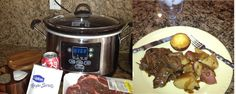 1 (3 lb) beef chuck roast, 1 pkg onion soup mix, 1 tsp Thyme, 2 cans Coca Cola, 1/4 cup flour.   Season roast with salt & pepper.  Add everything to crockpot , but flour. Cover & cook on low 7 hrs. 1 hour before roast is done, cube potatoes, add to crockpot.  When roast & potatoes are fork tender, remove & let roast stand. Pour drippings in a skillet. Add enough water to flour to dissolve it, whisk well. Add to skillet & whisk until mixture thickens. Lower heat for 15 min. Add meat to gravy.