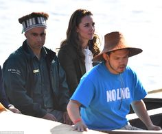 The Duchess of Cambridge looked to be deep in thought on the journey, before she received a First Nations welcome on the beach