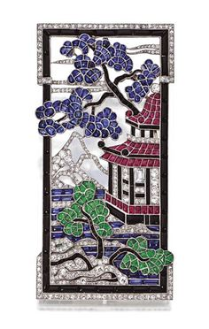 ART DECO COLORED STONE AND DIAMOND PENDANT-BROOCH, VAN CLEEF & ARPELS, PARIS, 1924.  The rectangular plaque decorated in Japanese taste with a pagoda and flowering trees in a mountainous landscape, decorated with buff-top calibré-cut sapphires, emeralds, rubies and onyxes, completed by old European-cut, single-cut, rose-cut diamonds and 1 baguette representing a window, altogether weighing approximately 2.50 carats, mounted in platinum, signed Van Cleef & Arpels, Paris