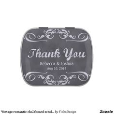 Vintage romantic chalkboard scroll wedding favor jelly belly candy tins
