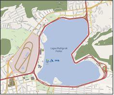Map Lagoa Rodrigo de Freitas 2016 Olympic Games Rio de Janeiro. Vector map in Adobe Illustrator Available.