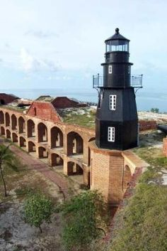 Lighthouse at Fort Jefferson, Dry Tortugas in Key West. Lighthouse Lighting, Lighthouse Pictures, Light In, Beacon Of Light, Saint Mathieu, Harbor Lights, Water Tower, Key West, Architecture