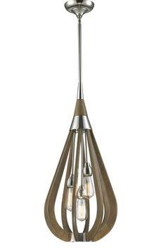 4358 BONITO - Medium Polished Nickel & Taupe Finished Wood 3 Light Pendant (Globes Not Included)