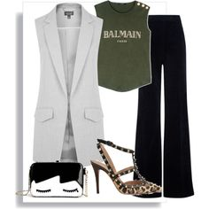 Untitled #11 by blocnblog on Polyvore featuring polyvore fashion style Balmain Topshop AG Adriano Goldschmied Valentino