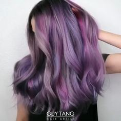 - Trend Hair Makeup And Outfit 2019 Lilac Hair, Hair Color Purple, Cool Hair Color, Purple Hair Styles, Purple Hair Tips, Silver Purple Hair, Green Hair, Purple Balayage, Balayage Hair