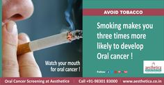 Avoid Tobacco In All Forms. Watch Your Mouth for Oral Cancer ! Get Screened Today .  To book an appointment, Call +919830183000 Or log on to www.aesthetica.co.in  ‪#‎OralCancer‬,