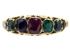 """This ring is in very good condition. The gemstones spell """"Dearest"""" Diamond, emerald, amethyst, ruby, emerald,sapphire, topaz. The Georgians and Victorians were very fond of sending secret messages to their loved ones and rings such as this one spelt """"Adore, Regard, Love"""" etc. They are very sought after now especially with Valentines day coming up!"""
