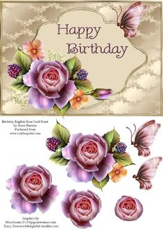 Birthday English Rose Card Front - A Quick and Easy Step by Step and Card Front. This beautiful design fits onto an card with enou - Image 3d, Decoupage Printables, 3d Sheets, Scrapbooking, 3d Prints, Bird Cards, Get Well Cards, English Roses, Planner