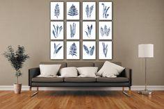 Farn Art Print Satz von 12 Farne-Geburtstag-Geschenk-Idee. Marineblaue Blatt botanische Wand-Dekor. Abstrakten minimalistischen Werk Küche Poster. Wohnzimmer verlässt Aquarellmalerei. Ein Preis ist für den Satz von 12 verschiedenen Farn-Kunstdrucke wie auf dem ersten Bild. Art von