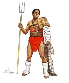 https://www.kickstarter.com/projects/cristinaravara/julius-caesar-in-ariminum-rimini-italy  Gladiateur : rétiaire. Illustration par Sandra Delgado.