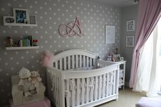A sweet and elegant pink and grey nursery designed for our baby girl with personal touches handmade by mommy and daddy.