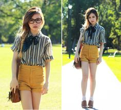 Love the top with mustard shorts  Mustard (by Chloe T) http://lookbook.nu/look/3373813-Mustard