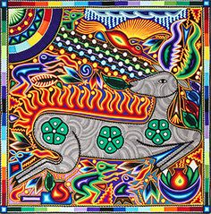 This beautiful, one-of-a-kind yarn painting was made by pressing thin strands of acrylic yarn into natural beeswax spread over a wooden board.  Yarn art is made in limited quantities by the Huichol and Tepehuano Indians of southwestern Mexico.  Written on the back of each painting is a description of the work, written in Spanish by artist Felix Bautista Ramos.