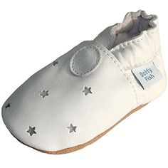 Dotty Fish Leder Babyschuhe - rutschfest Wildledersohle - chromfrei weiche Lederschuhe - Baby Jungen und Mädchen - weiß Sterne Taufe - 6-12 Monate - Gr. 20