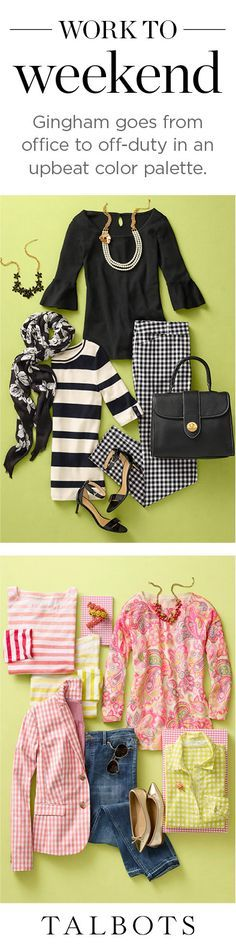 Need some Spring outfit inspiration? Take a gingham print that can be dressed up or dressed down, from black and white monochrome office attire to colorful and casual weekend wear.