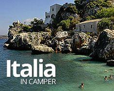 Mappa dei campeggi, aree attrezzate e parcheggi per la sosta camper in Italia.