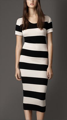 Black/white Striped Silk Dress - An effortless soft silk dress in a striped pattern. Tailored for a feminine close fit, the skirt is crafted in ribbed stretch silk. Short turnback sleeves complete the design. Discover the women's dress collection at Burberry.com