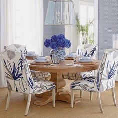 Massoud Allison Botanical Chair & Taylor Pedestal Table : blue and white dining room Blue Rooms, Dining Room Design, Dining Rooms, Dining Area, Navy Dining Chairs, Banquette Dining, Dining Table, Round Dining, Accent Chairs