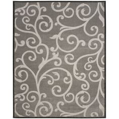 Safavieh Indoor / Outdoor Cottage Scrolling Vines Grey Rug (7' x 10') (COT927C-6), Size 7' x 10' (Polyester, Floral)