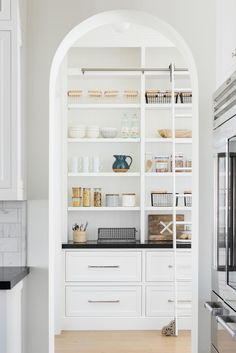 Home Decor Classy Arched pantry with ladder pantry organization California Traditional Interior Design Kitchen Pantry Design, Kitchen Organization, New Kitchen, Organization Ideas, Kitchen Ideas, Kitchen Storage, Storage Ideas, Kitchen Layout, Kitchen With Pantry