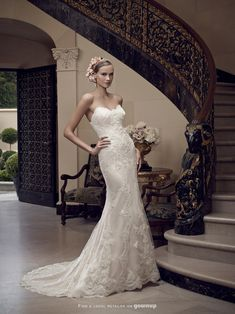 Our exquisite sample is champagne with ivory lace@CasablancaBride #Fitted #Strapless #elegant  #Lace 2201https://GownUp.com/gowns/26835