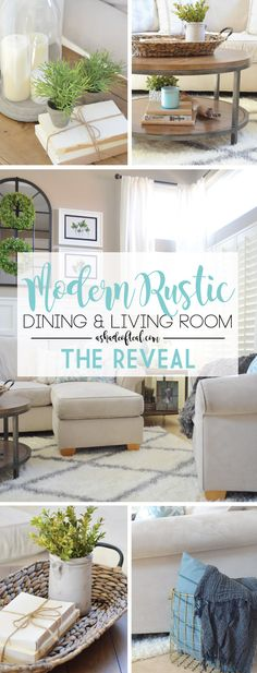 Modern Rustic Dining & Living Room // ORC: Living Room Reveal   A Shade Of Teal
