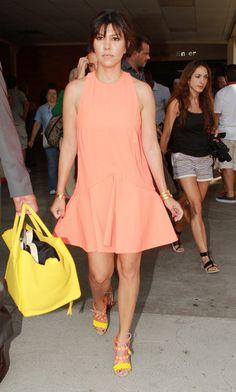 Kourtney Kardashian Pairs peach & yellow for an ultra summer look