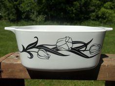 Vintage Corning Ware Lyrics Black Tulips Casserole Dish A-1.5L #CorningWare
