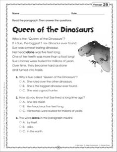 snapshot image of dinosaur reading comprehension worksheet 1 second grade material reading. Black Bedroom Furniture Sets. Home Design Ideas
