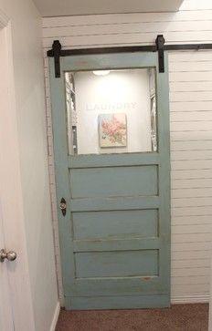 """Laundry Room entrance :: Antique door at rolling """"barn door"""" hardware"""